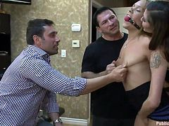 Now this is some high quality services. How could have known that getting your hair cut can be so fucking fun. The black dude sits on the chair and gets his new look while a blonde slut with small tits and hot body is being tormented in front of him. He even films it with his phone to have a pleasant memory