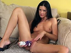 Teen brunette using her dildo