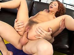 Netu is a redhead cuttie with hairy pussy and burning desire to have anal sex with her new neighbor. The man drills her pussy and then ass hole while she moans with pleasure