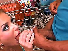 Wonderful glam-lady Nika Noir with sexy eyes and hot temperament meets her neighbor black man. She looks amazing in her sexy lingerie, but she immediately takes it off to suck his cock.