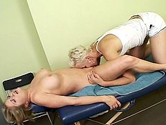 Nice MILF has all her body shape touched after the sexy massage