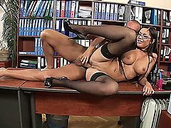 Secretary proves to her boss she's worth more as a 'fuck toy'.