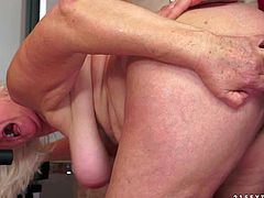 Judi is a white-haired dirty granny that gets her loose hairy pussy fucked good and hard by skinny boy at the gym. Young horny guy fucks the shit out of nasty well-experienced bitch.
