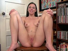 Teenage Veronica Radke shows her pink barely legal pussy