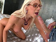 Puma swede is rubbing her pussy with a black vibrator while she wears a bag over her head. She gets lips drawn on the bag then a cock shoved in her mouth through the paper bag. She gets deep throated then has her pussy fucked.