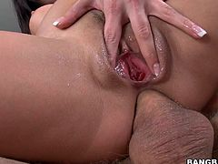 Hispanic Alexa loves big hard cocks, she especially enjoys getting fucked in the mouth and ass so after finishing swallowing the guy's dong she goes on top and receives all that dick inside her ass hole. Damn the bitch really gets her hole stretched, doesn't she deserves to get it filled with semen too?