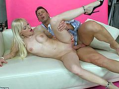 Lena Cova is a sexy white haired baby doll with hairless pink pussy. She gives mouth job to lucky guy and then he makes his worm disappear in her fuck box. Watch lovely blonde get slammed.