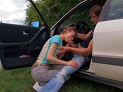 Dirty girl Beata sucks hard rod in car
