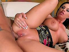 Glamorous and exquisite brunette Kerry Louise has beautiful natural boobs and amazing tattoos on her backside. Her pussy takes her boyfriends dick so deep and rides it hard.