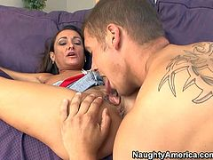 Michelle Lay gets down on her knees in front of her sons buddy and takes his nice young dick in her eager mouth. She spreads her legs and gets her pussy munched by hot stud after cock sucking,