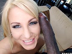 She's blonde, busty and damn pretty. Meet Jessica, a sex bombshell with a pink pussy that loves the taste of a black cock. Jessica likes mostly big black dicks so that's what she's getting now! This dude has a huge penis and she's stuffing her mouth with it. Find out if this blonde will stuff her pussy too!