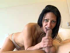 She is slutty whore who is craving for cock. She is so excited to have one to suck while filming this video. So, she sucks it so hard and seems like she doesn't want to stop.