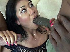 This horny Asian gets some interracial extreme DP action from a couple of big-dicked gentlemen. All her holes love huge dongs and getting her pussy and ass plugged is bliss.