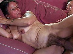 Hairy granny Miss Nina Swiss gets fucked