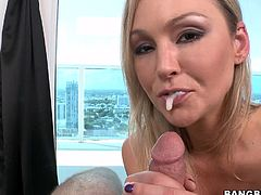This sizzling and smoking hot siren Abbey Brooks is all about an oral sex. She is so professional, when she uses some blowjob tricks.