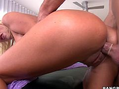 Busty blonde milf Puma Swede lets some guy massage her amazing body. Then she gives him a wonderful blowjob and they bang in various positions on the massage couch.