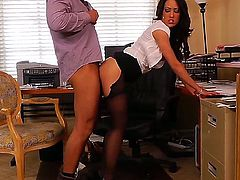 Capri Cavanni and Rocco Reed working in a big company and sometimes they need to relax somehow. Capri is a well-known slut and she loves to work with big peckers. Rocco doesnt mind at all