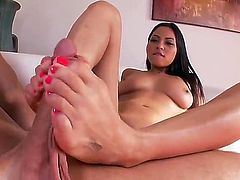 Man is playing with magic feet and sucking toes of Adrianna Luna first of all. She becomes turned on from it and starts performing footjob to the dude bringing him at cloud seven.