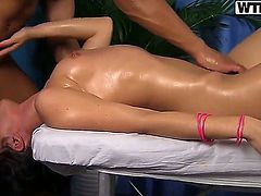Hot and very passionate brunette Danna is very tired and she adores erotic massage made in her favourite salon. This action turns into fantastic sex and appetizing blowjob