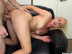 Sex bomb shell Ashley is bent over and this guy is drilling her pink shaved cunt with his big hairy dick. Ashley likes it deep and hard and even goes on top to to take control of how deep she's being fucked. When the dude is almost ready to cum she kneels and he grabs that pretty face to give it a big load