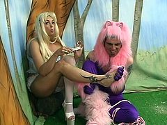 Poodle dressed man has to eat dirty soil for his busty mistress