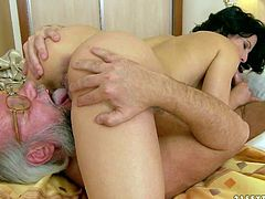 Maia gets her shaved pussy eaten and sucks hard mature cock in 69 position before her older lover bangs her pink hole. Attractive brunette has sex of her lifetime with four-eyed aged man.
