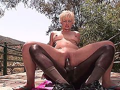 Black fucks Nora Skyy after blowjob outdoor