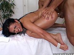 Passionate brunette getting pounded after massage session