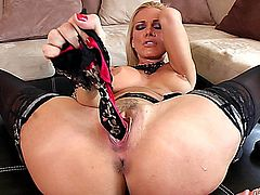 Sandy Hot playing with a big dildo
