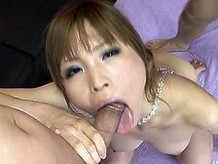 Sakura likes to act like a lady but when she sees hard dicks she turns into a dirty whore. This bitch is having not one but to hard dicks so she she starts with some titjob before kneeling with obedience and sucking both guys. The taste of two hard dicks in her mouth made Sakura horny as fuck so she bends over.