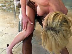 Check out this blonde milf, she loves black meat and gets fucked by that black dude deep and hard. He drills her pussy from behind and then the whore goes on top to ride him, bouncing her sexy round boobs. This dude fucks the shit out of her and hopefully he will give the bitch a big load of semen on that white booty