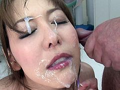 She's hot, she's asian and she's a mom in need of some sperm! Akari is one of those pretty cunts with a lustful mouth that you just know she likes to get facialized. Watch her sucking cock like a whore and then enjoying a few big loads of jizz on her pretty face. Yeah, maybe she even likes swallow!