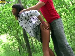 Vulgar Russian hussy takes a walk in a park where she hooks up with experienced wanker who drills her gaping pussy from behind in sensual sex video by WTF Pass.