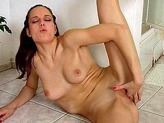 Well, this brunette with ugly makeup is far from being pretty. Dirty-minded nympho goes solo and gets rid of shorts and top. All naked tall bitch with nice tits starts tickling her fancy and licks the fingers passionately.