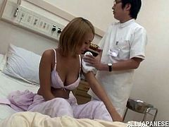 Lovely Japanese babe with blonde hair gives great blowjob to a doctor. After that she gets her smooth pussy drilled deep.