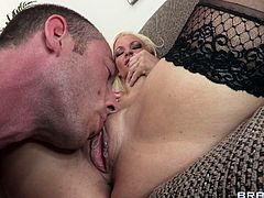 Innocent and happy blonde babe in black stockings is having amazing fuck with her boss