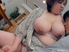 Big-breasted Japanese mom Mayu Koizumi is trying to teach her friend's son how to fuck. The first lesson contains a blowjob and a titjob.