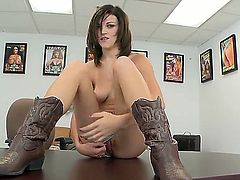 Danielle Steele is a simple country girl and she wants to masturbate on camera right now. However, she wants to pose in sexy blue panties before doing that. Watch and have fun