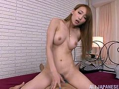 Sweet blonde Japanese girl in sexy nightie gives an amazing blowjob to some lucky guy. After that she gets her pussy fucked.