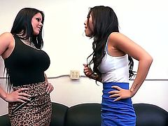 Horny Diamond Kitty and amazing Asa Akira are getting really naughty tight now while they are waiting so showing their hot bodies with their huge boobs they are having some lesbian sex.