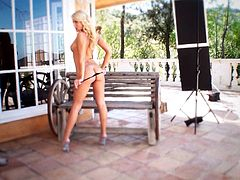 Superb blonde beauty amazes with her lovely vag getting drilled by her new toy