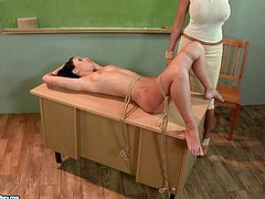 Madison Lovely is playing dirty games with Mandy Bright in a classroom. Mandy ties Madison up and does all what she wants with her nice holes.