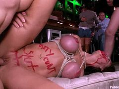 Kinky girl strips her clothes off and shows her amazing body. After that she sucks dicks and gets fucked in public.