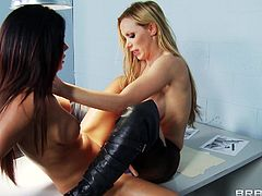 Arousing babes are having fun stimulating one another's tight pussy and ass