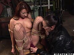 Maria Bellucci is playing dirty games with Mandy Bright in a basement. Mandy ties Maria up, spanks her ass and then destroys her juicy pussy with a dildo.