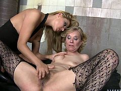 Smoking hot blond mistress gets naked with that granny and eats her pussy, while she fingers hers. That shit is kinda nasty, but fun to see.