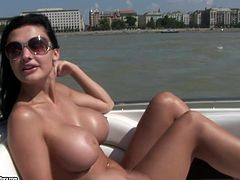 This super sexy and fiery brunette babe Aletta Ocean is so fucking hot and horny. She rides a yacht and starts getting naked on board. Babe wants to get balled for sure.