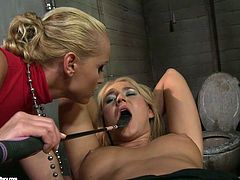 Fair-haired cutie Linda Ray is playing dirty games with Kathia Nobili. Kathia ties Linda up and then fucks her hot pussy with a massive dildo.