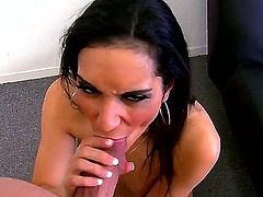 Amazing brunette whore Tia Cyrus knows how to make a man happy and all she need to do is just make him a good blowjob and thats exactly what she is doing till the very cum comes out.