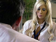Tasha goes in for a check-up but she's actually having dirty thoughts about her doctor. Thankfully the guy feels the same as he show her his big hard dick. She starts sucking on it like her life depended on it. But she knows what's what, the medicine is going to come out of the doctor's penis!
